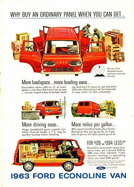 1963 Ford Econoline Van Vintage Vans Automobile Advertising Vintage Trucks