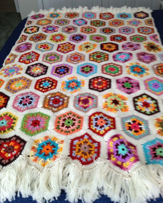 Crochet Afghan, Hexagon Pattern Crochet Afghan, Handmade Afghan, Wool Afghan, Multi Color Afghan, 64x51 Afghan, Crochet Throw, Throw