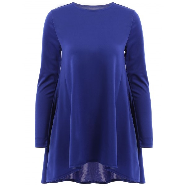 14.19$  Watch here - http://di3q3.justgood.pw/go.php?t=163475316 - Stylish Long Sleeve Round Neck Solid Color Women's High Low Dress 14.19$