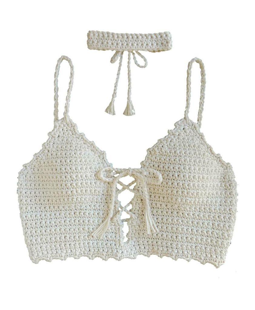 Tie Me Up Crop Top -Handmade,100% cotton -Shown in Natural (with ...