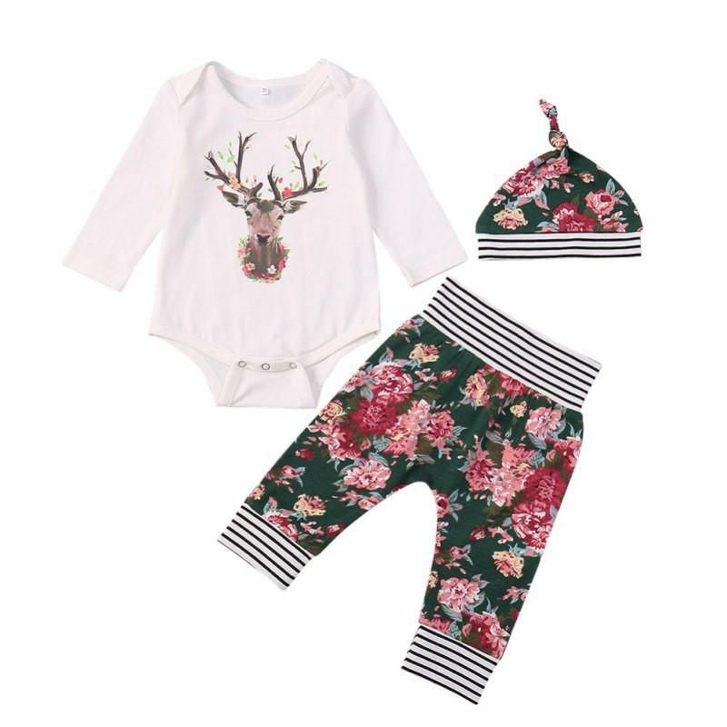12cb0a0ed04 The Floral Deer Outfit Set. 3PCS Autumn Newborn Print Baby Rompers Printed  Hat Pants Long Sleeve Cartoon Christmas Baby Clothes Set Baby Girl Clothes  Set