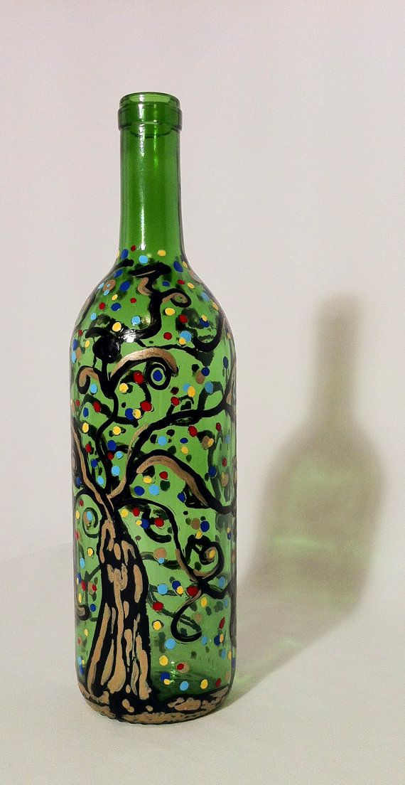 Hand painted glass bottle vase by swirlyworkz on etsy 20 for How to paint glass bottles