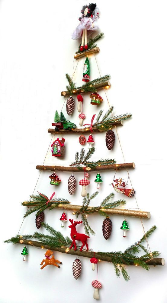 Everlasting ladder-style rustic christmas tree #weihnachtenholz