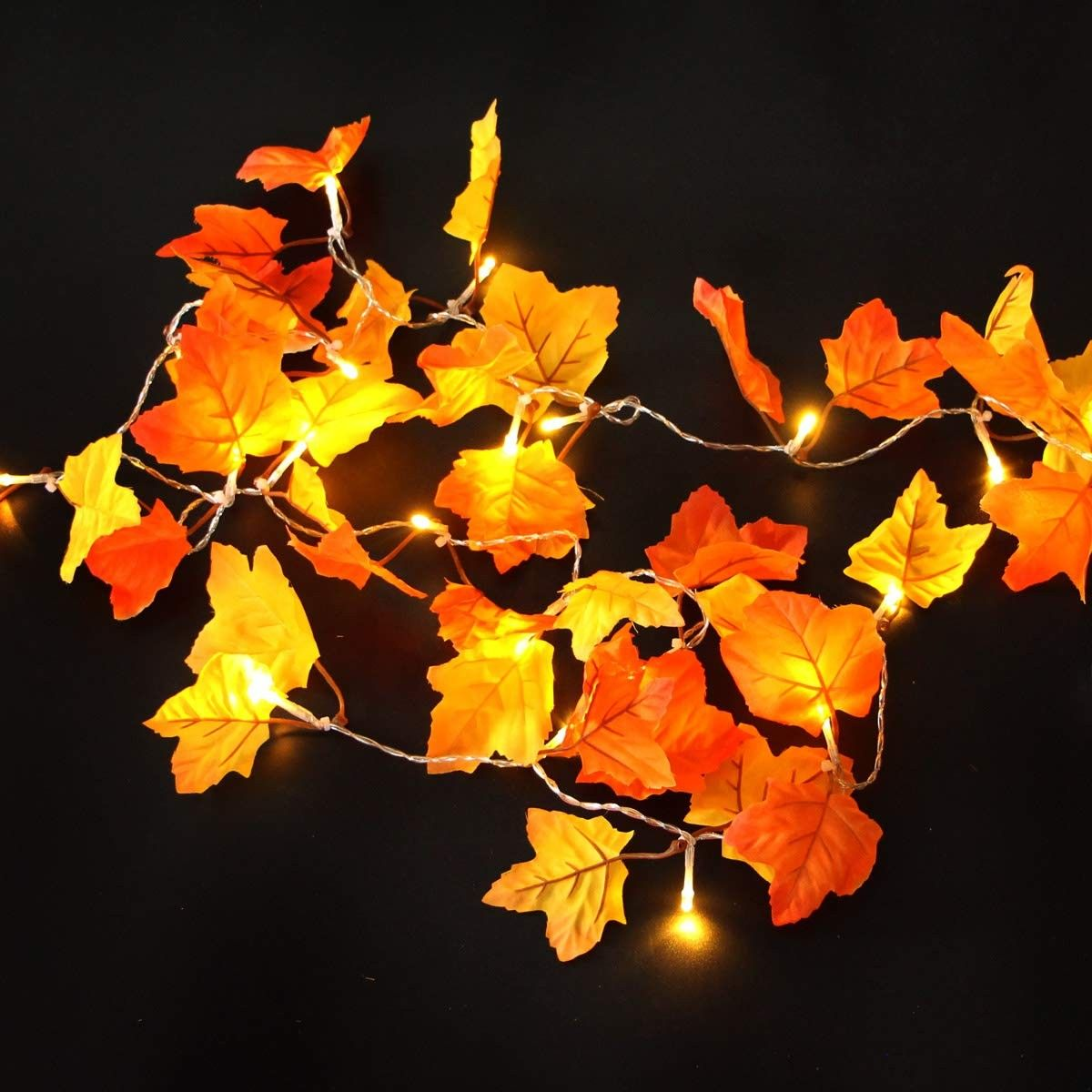 40 LED Fall Maple Leaves Fairy String Light Autumn Leaf Lamp Garland Party Decor