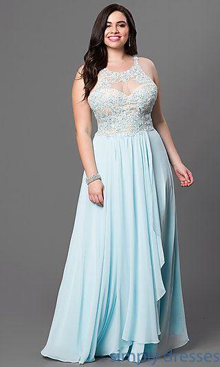 Lace Embellished Bodice Floor Length Sleeveless Plus Dress