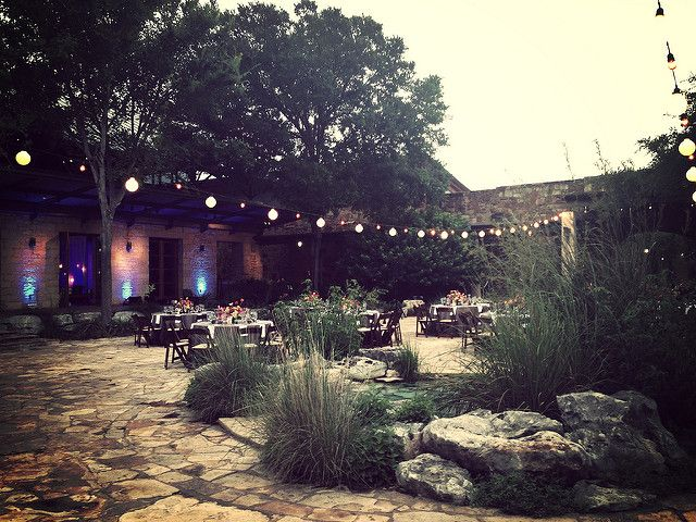 Festoon Lighting, Blue Uplighting, Outdoor Lighitng Ideas | LBJ Wildflower Center | by IntelligentLightingDesign
