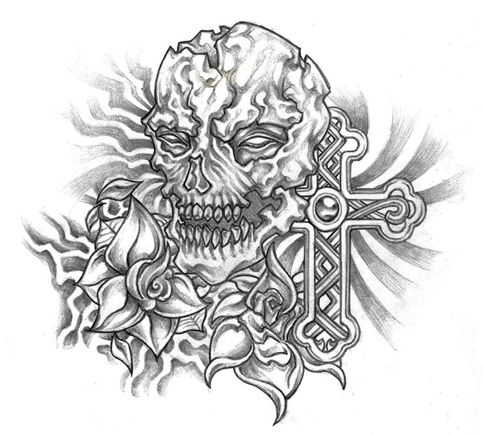 Skull Roses And Cross Concept Tattoo By Dany666 On Deviantart Skull Coloring Pages Tattoo Coloring Book Evil Skull Tattoo
