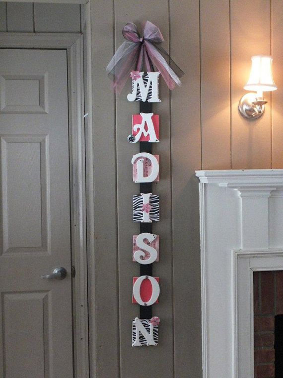 Name Plaque Baby Name Wall Hanging by InspiredByParties on Etsy