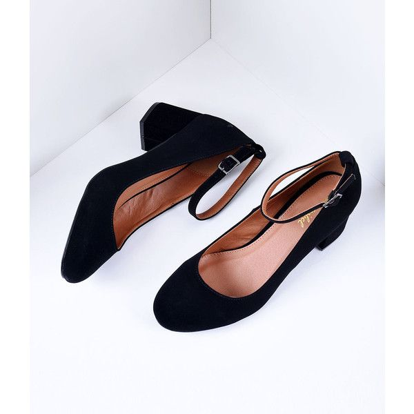 Ankle strap heels, Black block heel shoes