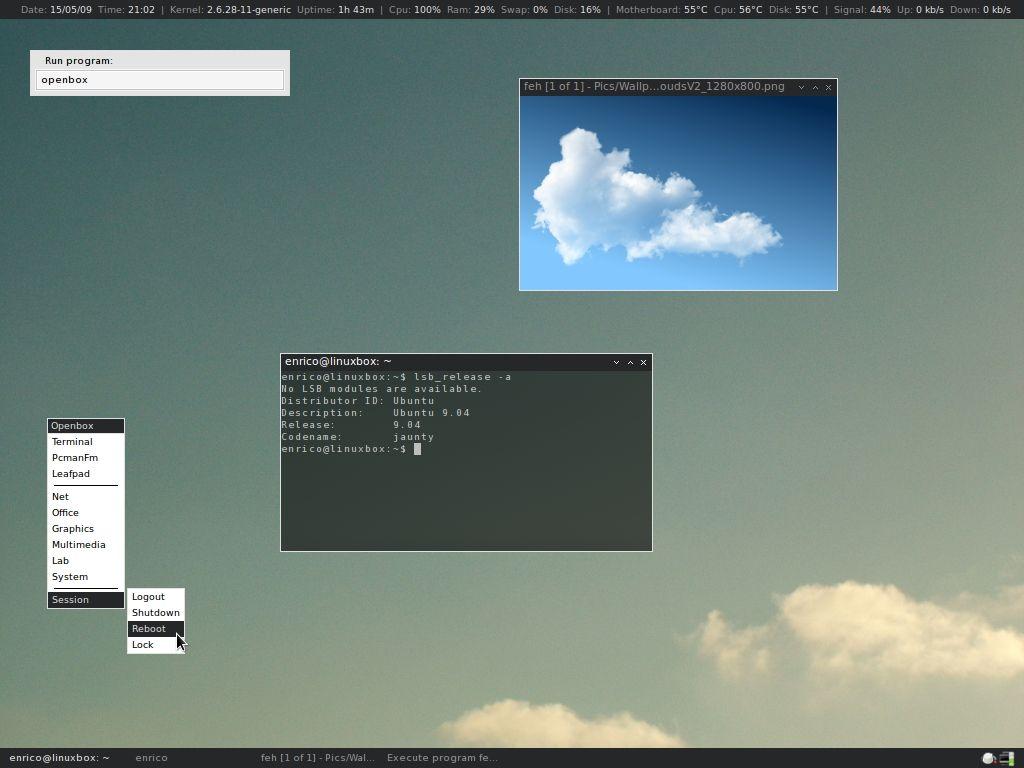 My openbox desktop OS: Ubuntu 9 04 Jaunty Jackalope WM