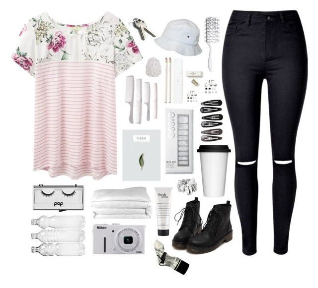 """""""Untitled #162"""" by ksalma ❤ liked on Polyvore featuring Joules, WithChic, Essie, Kate Spade, Hershesons, Pop Beauty, Frette, philosophy, Nikon and Aesop"""