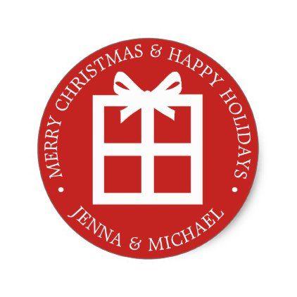 Merry christmas happy holidays christmas gift classic round merry christmas happy holidays christmas gift classic round sticker christmas stickers xmas eve custom negle Choice Image