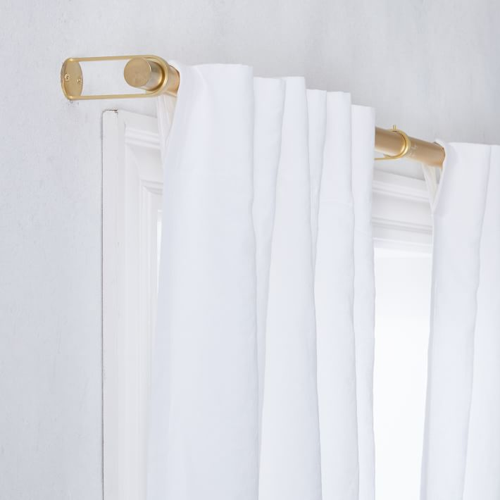Simple Metal Curtain Rod Antique Brass West Elm In 2020