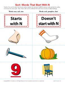 Words Starting With Letter N | Printable worksheets, Worksheets ...
