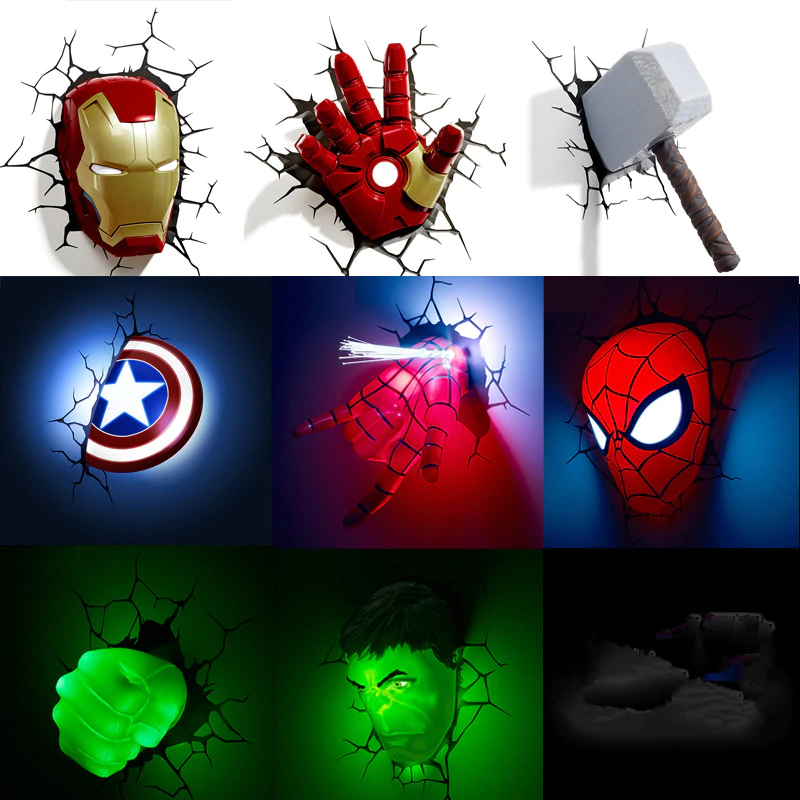 Best Kids Bedroom Lighting Ideas 3d Super Hero Lights Easynightlight Com Wall Lamps Bedroom Spiderman Room Led Wall Lamp