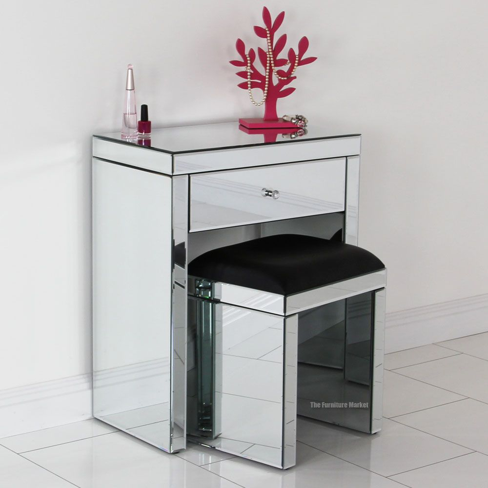 Venetian mirrored compact dressing table with black stool for Skinny dressing table