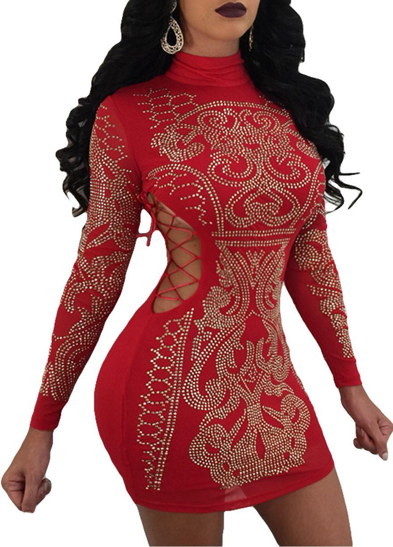 Red long sleeve strappy rhinestones dressclub dressclubwear