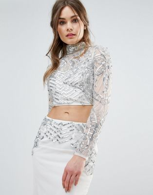 62cf57a57dc3 Frock And Frill Mesh Embellished Crop Top Co-Ord | South Asian ...