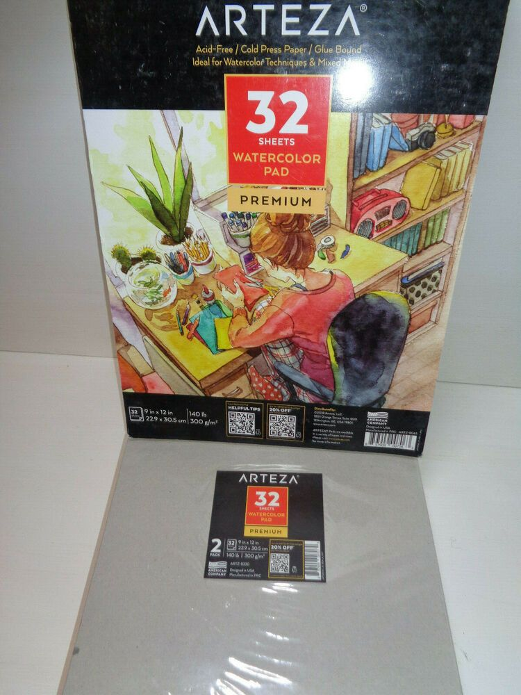 2 Arteza Premium Watercolor Pad 9 X12 Painting Drawing Paper