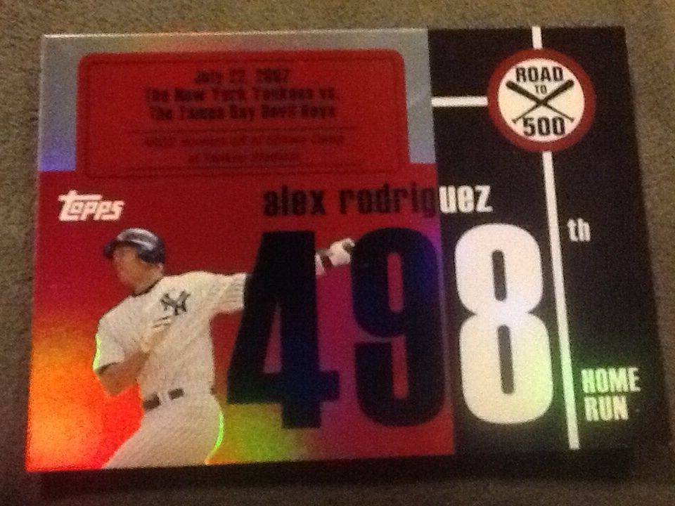 Alex Rodriguez 2007 Topps Alex Rodriguez Road to 500 Card# ARHR-498 #NewYorkYankees