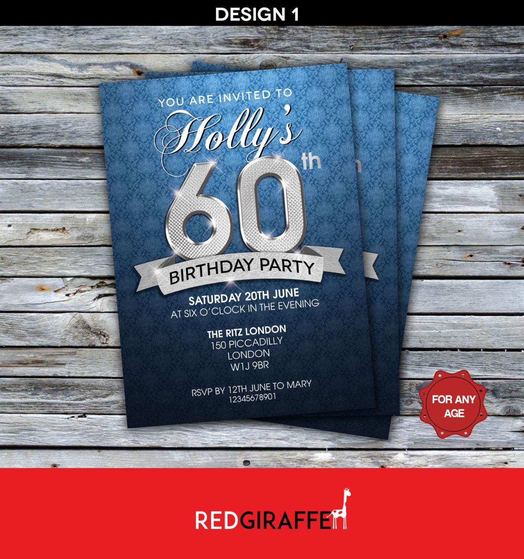 Personalised 20th, 30th, 40th, 50th Birthday Invitation / Any Age ...
