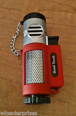 Quad Torch Red Heavy Refillable Tank 4 Head Butane Torch Lighter