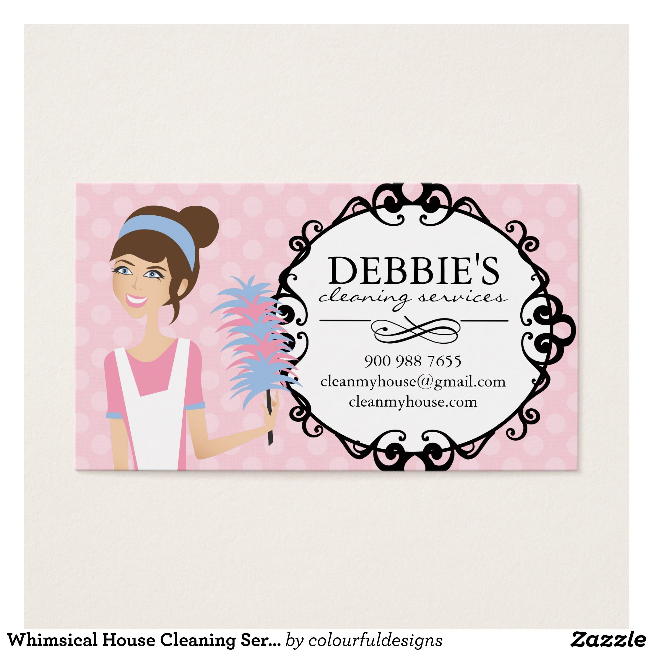 Whimsical House Cleaning Services Business Cards  Ffffdd
