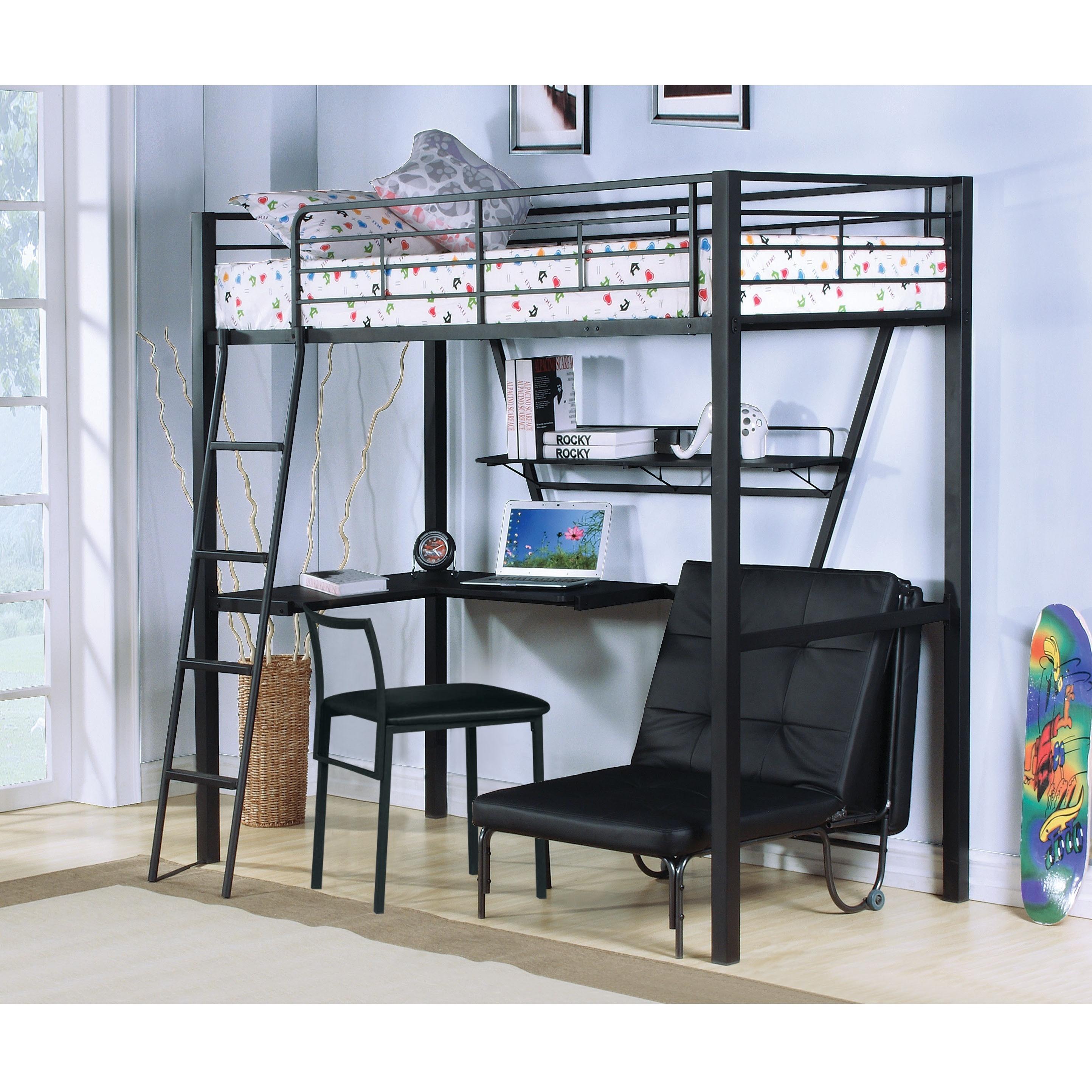 Senon Silver Black Twin Loft Bed With Desk