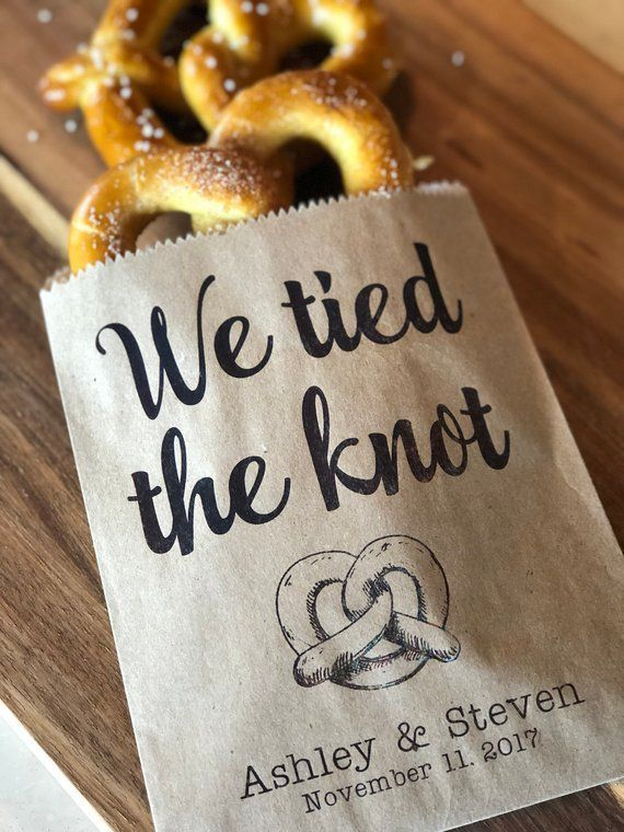 Photo of We tied the Knot Pretzel Bags, Waxed Pretzel Bags, Pretzel sleeves, Wedding Snack Bags, Wedding Favors, Food Truck Bags, set of 25