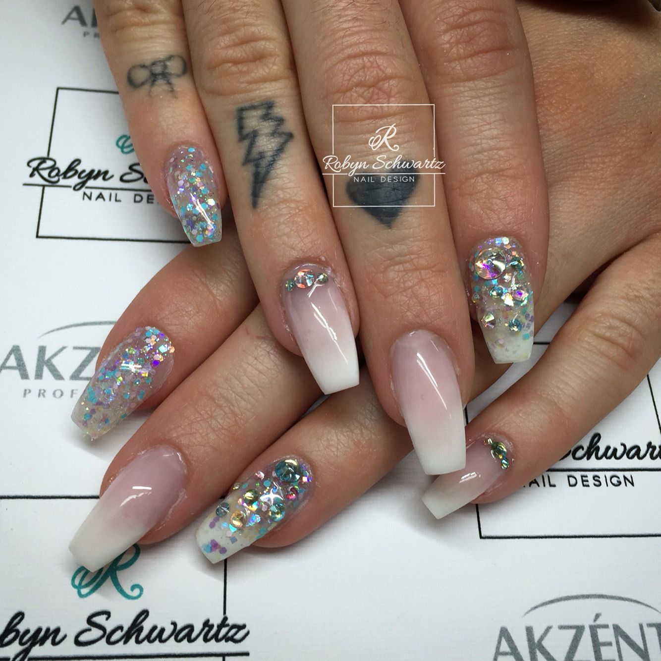 French Ombre Coffin Gel Nails With Glitters And Swarovski Stones