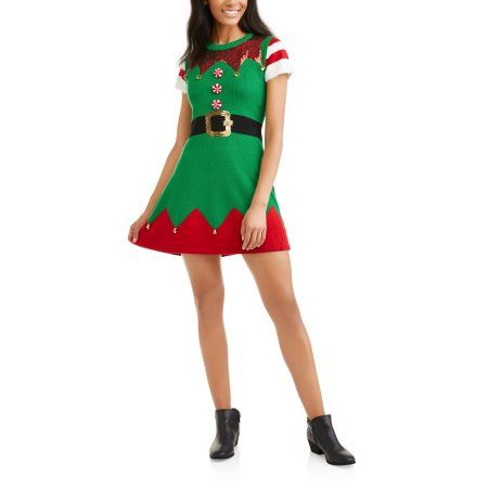 f49886cc5f6db Holiday Time Women's Ugly Christmas Sweater Dress, Size: Medium, Green
