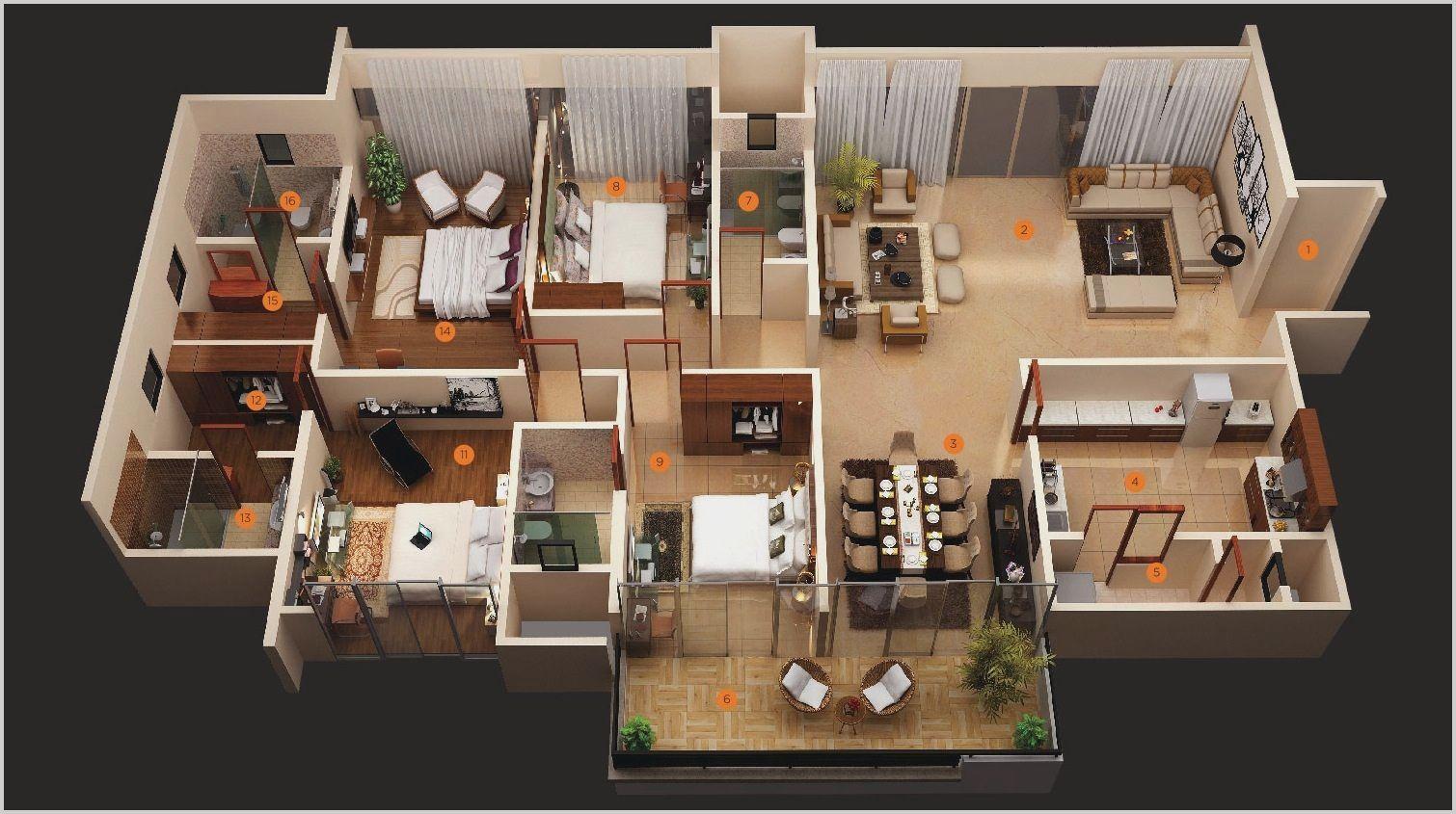 4 Bedroom Flat House Design In 2020 Four Bedroom House Plans 3d House Plans Bedroom House Plans