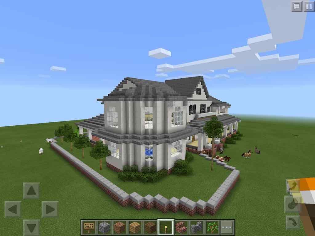 Big Modern Mansion Mcpe Hq Mansions Modern Mansion Minecraft Houses Survival