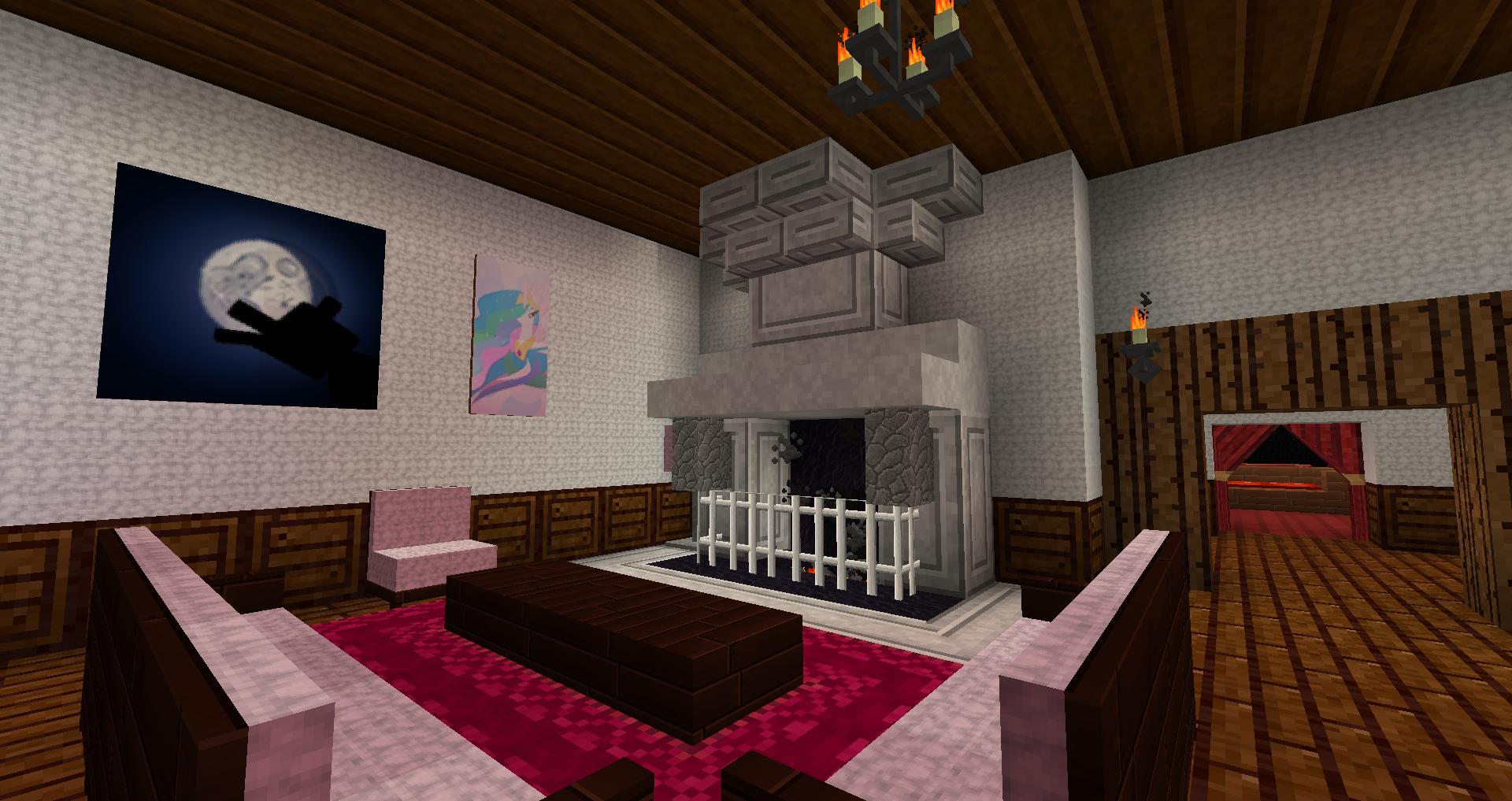 Minecraft  Mon salon dans mon terrier à Chamdelune sur TerraCube.