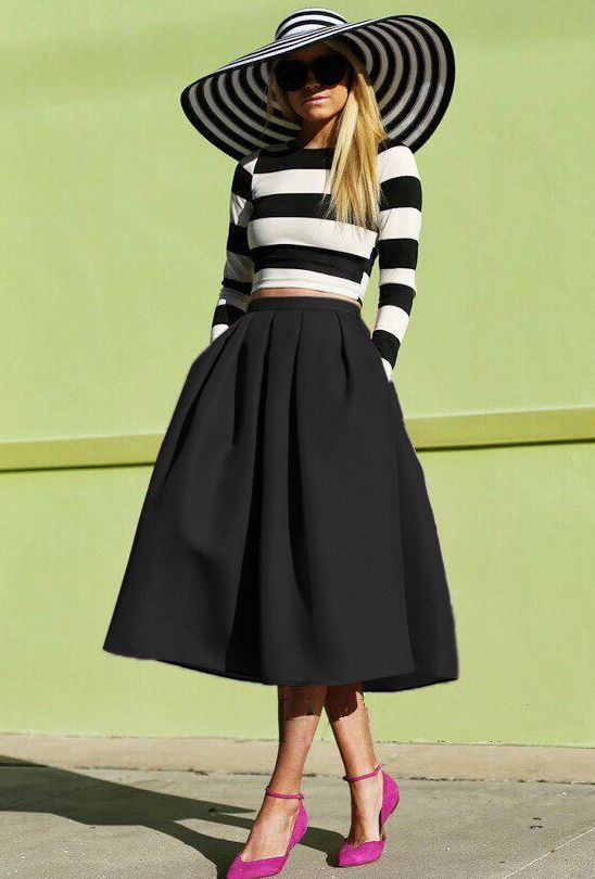 Shop Black Flare Pleated Midi Skirt online. Sheinside offers Black ...