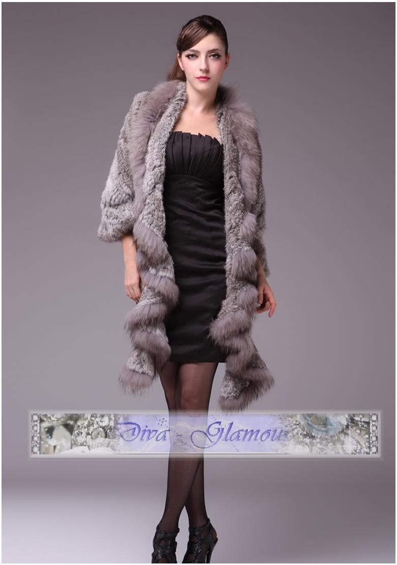 80bc677336ee pletený sveter - kožušina zajac mýval- šedá