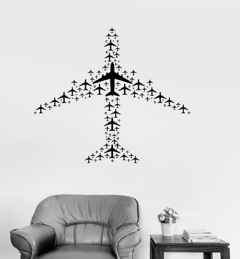 Vinyl Decal Airplane Flight Airport Aircraft Travel Wall