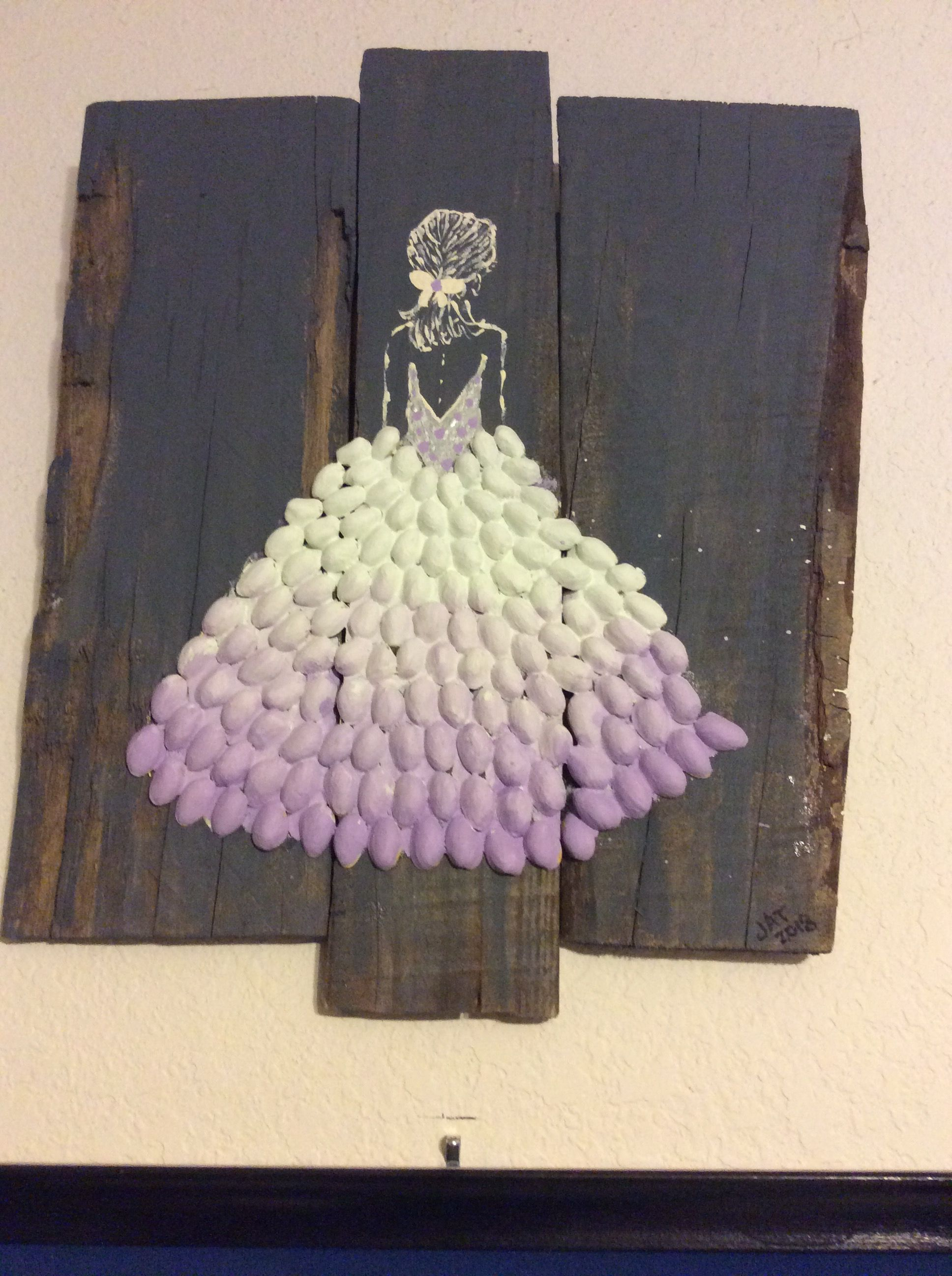 Pistachio Shell Art On Old Boards By Jat 2018 Shell Crafts Diy