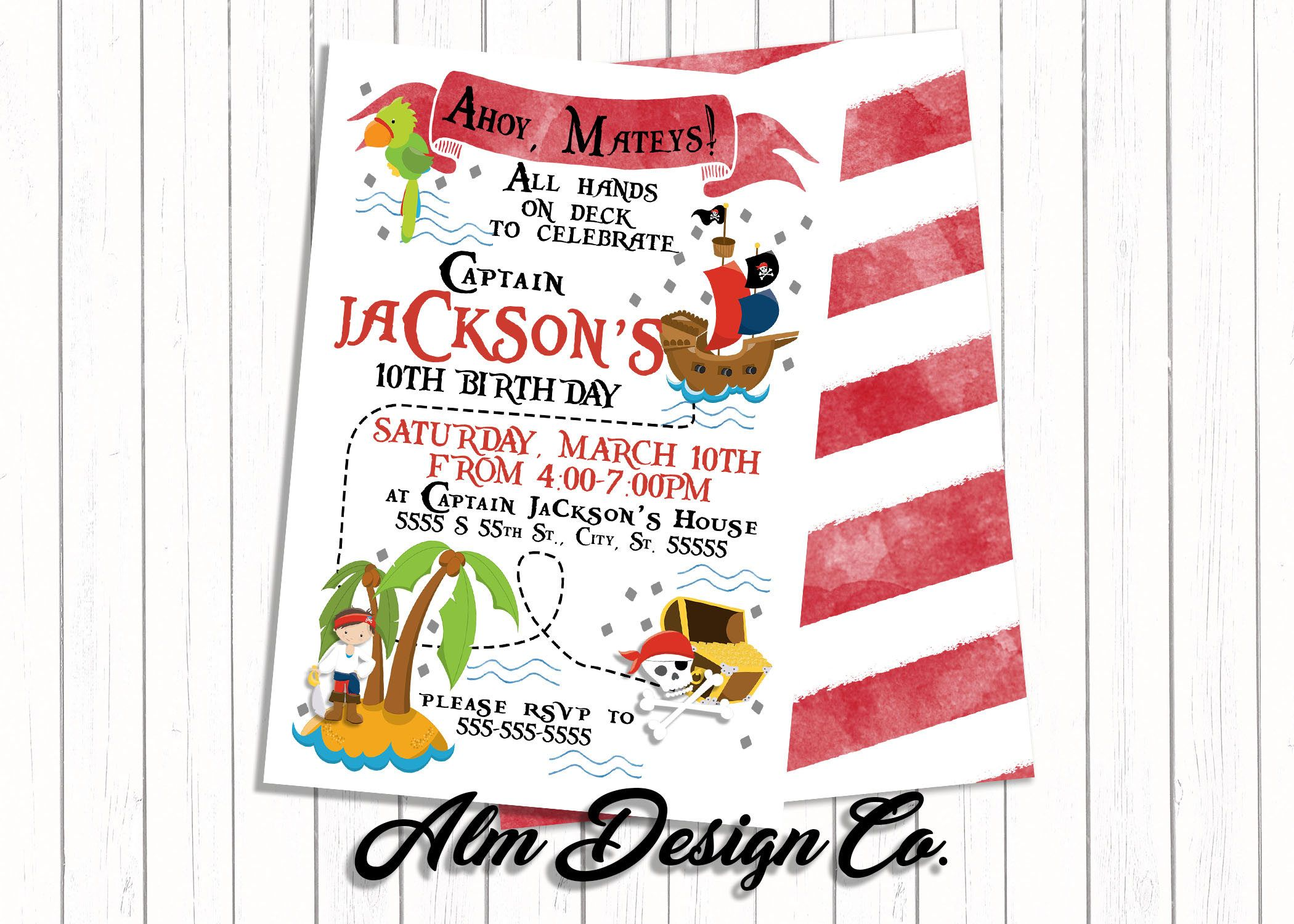 Pirate Invitation - Pirate Invite - Pirate Birthday - Pirate Party ...