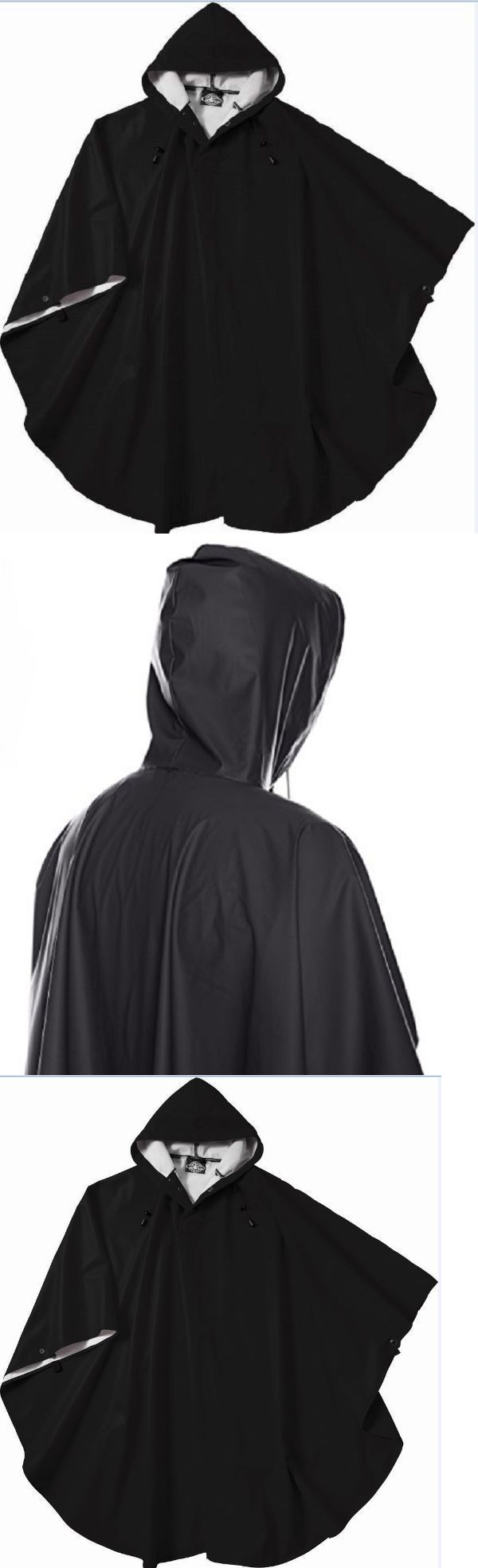 Outerwear 155195: Rain Poncho Coat For Men Women Black Hooded Waterproof  Wind Waterproof One Size
