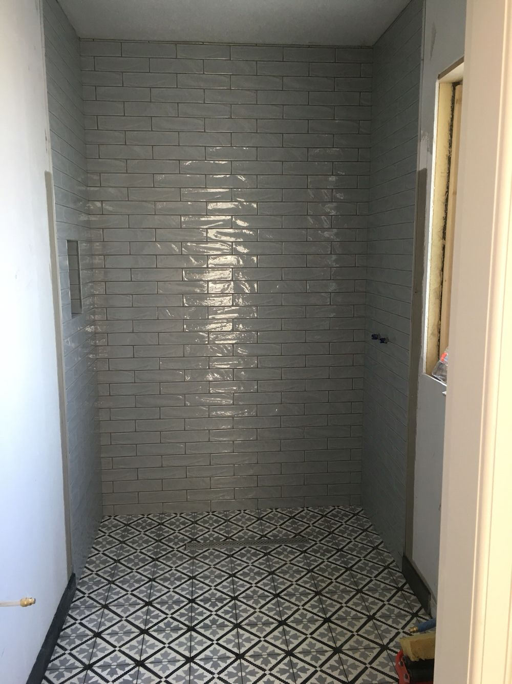 Wet Room Encaustic Tiles With Hand Made Glazed Subway Www Fossilstone Ie Tiles Encaustic Cement Tile Wet Rooms