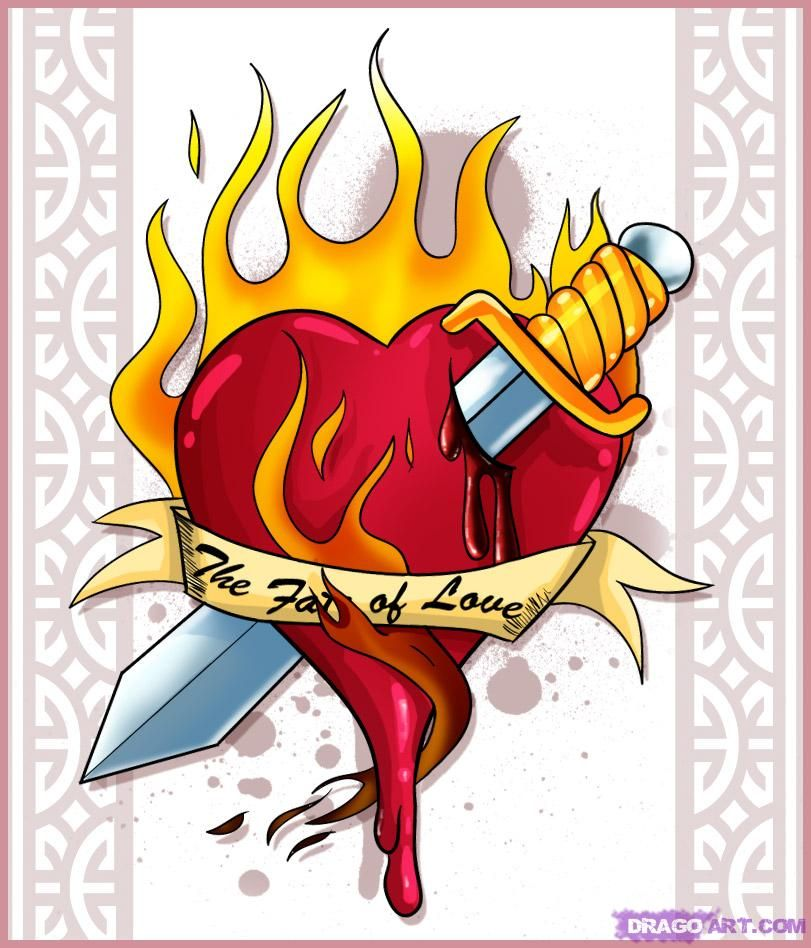 Hand Drawn Cool Flames | Cool Heart Drawings | Places to ...