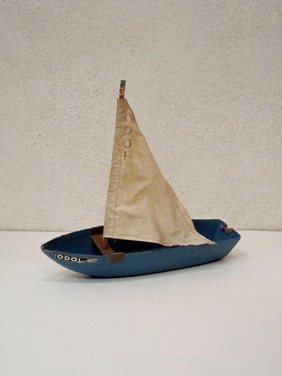 Antique sailboat, French Vintage, PAPER MACHE, Unique, home decor, simple, navy blue sail boat, model