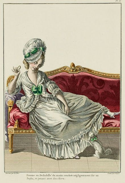 Woman in morning Undress lying negligently on a Sofa, playing with her dog. (1778)
