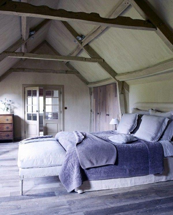 Rustikales Schlafzimmer Dachschräge Lila Farbe | Bedroom | Pinterest |  Schlafzimmer Dachschräge, Rustikale Schlafzimmer Und Lila Farben