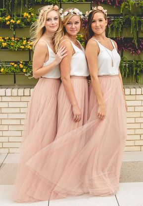 Photo of Bridesmaid Dresses Dusky Pink Long Straps Tulle Floor Length …