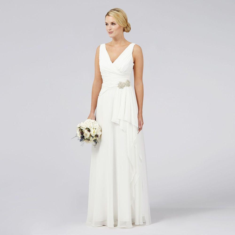 Debut womens emilia grecian waterfall bridal dress from