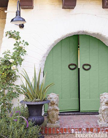 36 Colorful Front Door Ideas For The Prettiest House On The Block Green Front Doors Front Door Colors Painted Front Doors