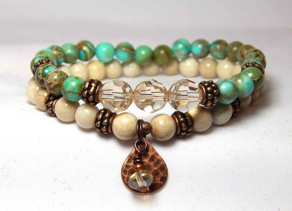 stone turquoise boho natural bracelet gold products artisan copper leather
