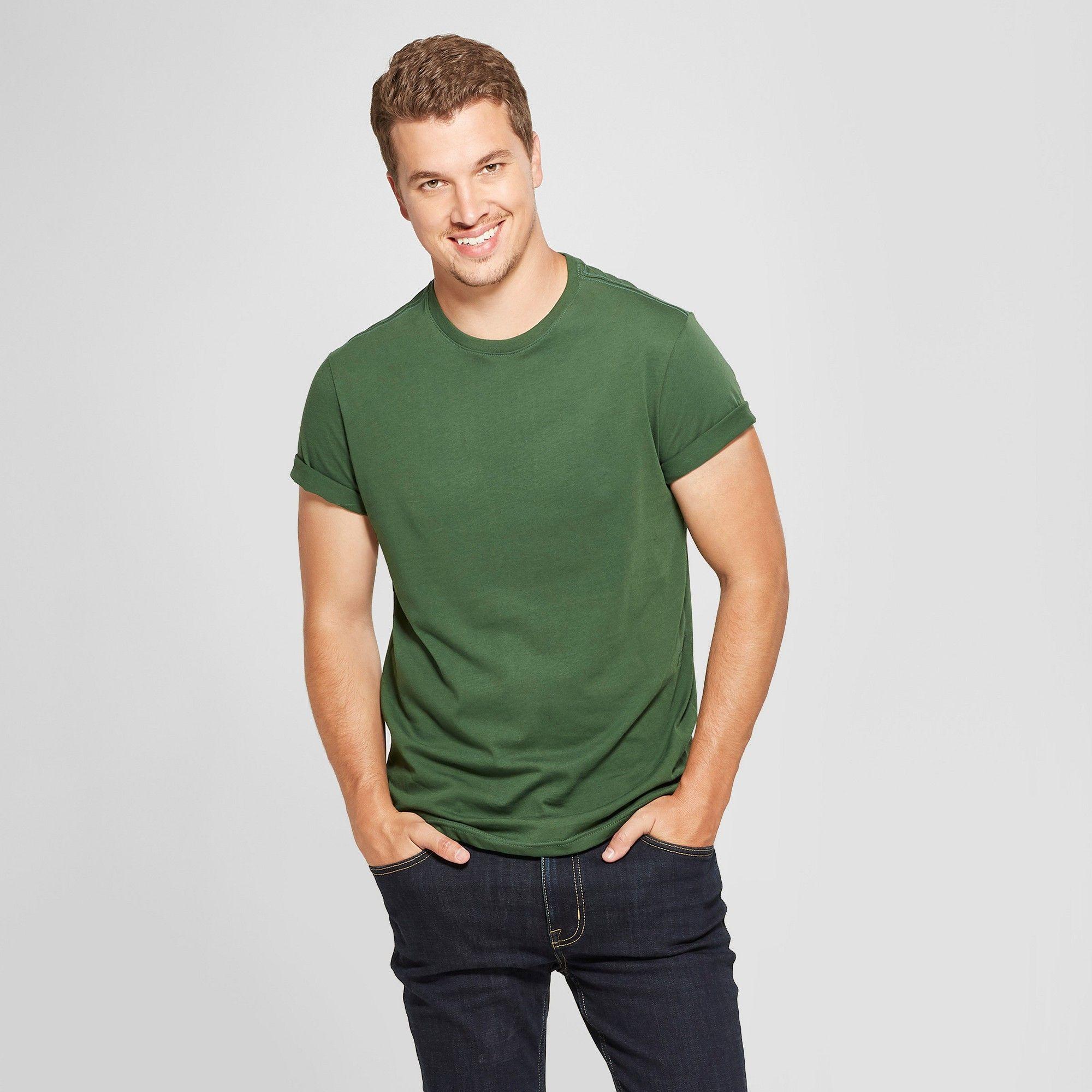 a8e7bcf3 Men's Standard Fit Core Crew Short Sleeve T-Shirt - Goodfellow & Co Banyan  Tree Green 2XL